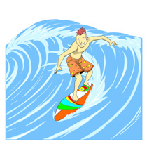 Surfing clipart In A Surf Waving Clip