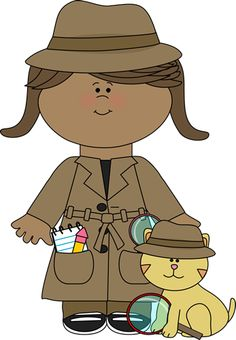 Surveillance clipart mystery book Girl Detective with Detective