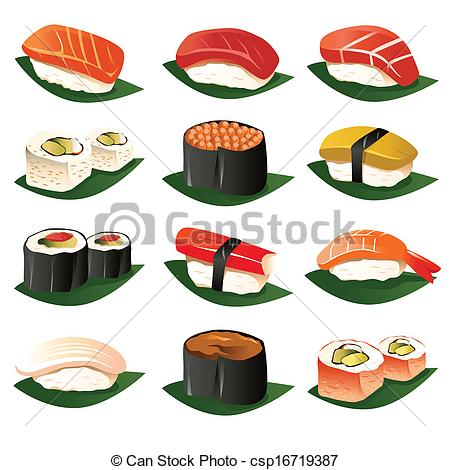 Sushi clipart graphic  csp16719387 of icons sets
