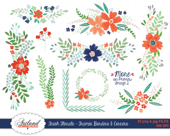 Swag clipart flower Digital good Coral blue Scrapbook