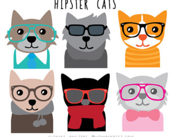 Swag clipart hipster glass Cats art Clip Clipart Animal