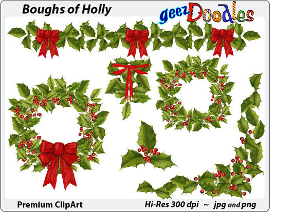 Holley clipart swag ~ Watercolor with holly with