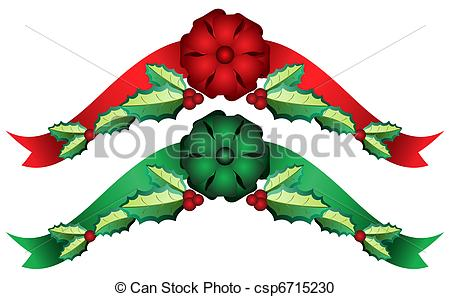 Holley clipart swag Ribbons bow of swag Holly