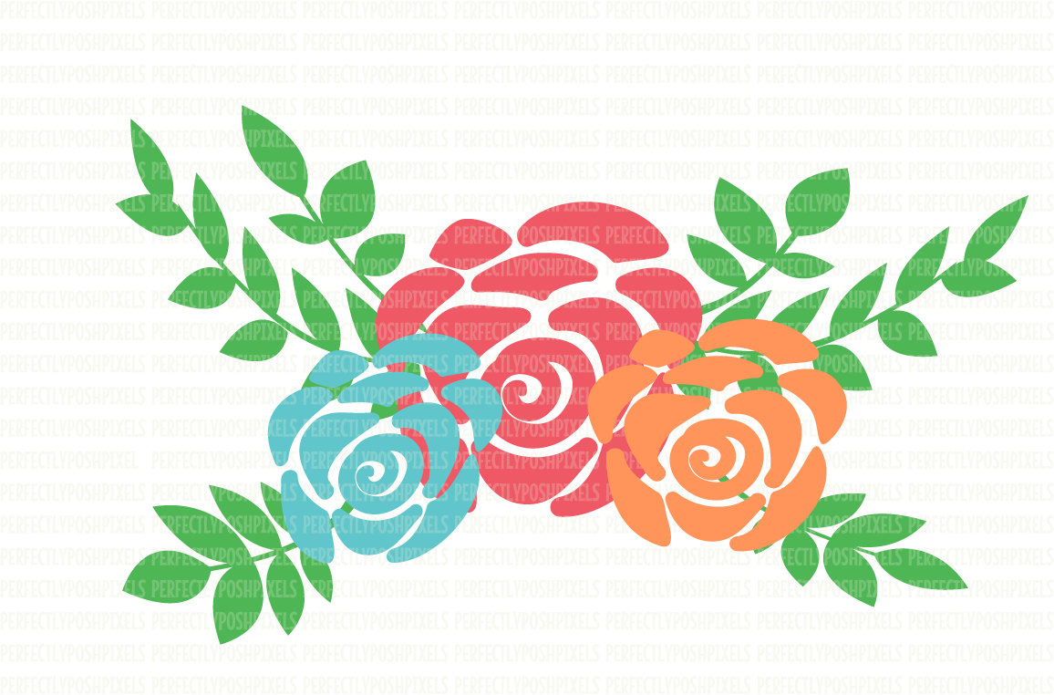 Red Flower clipart swag Floral cricut Flower clipart cameo