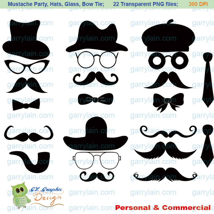 Swag clipart mustache glass Bow Silhouette digital commercial