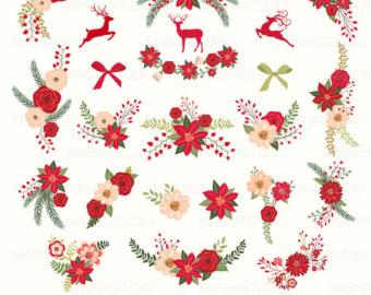 Poinsettia clipart blue Christmas poinsettia art: Christmas flowers