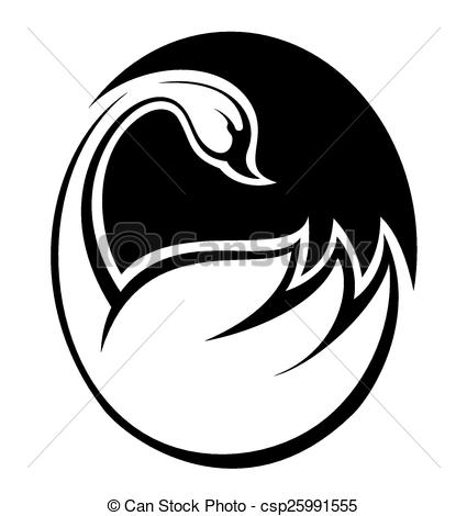 Black Swan clipart illustration Abstract Bird Swan Clipart of