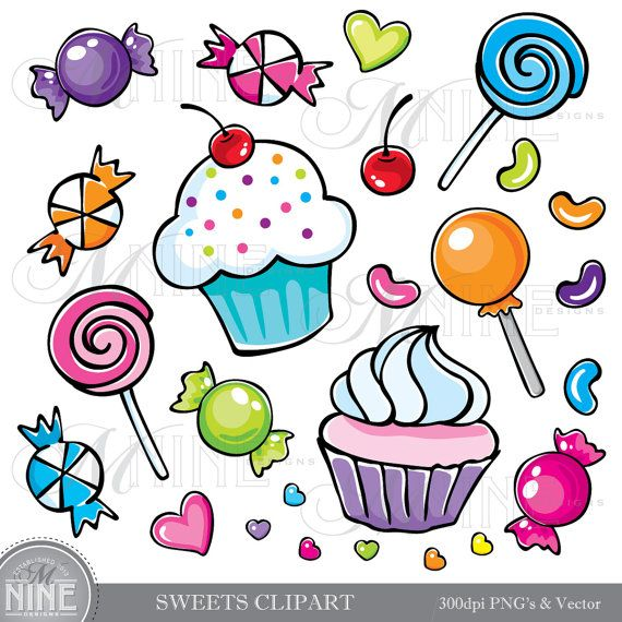Sweets clipart colorful candy Art Pinterest Cupcakes Graphics clipart