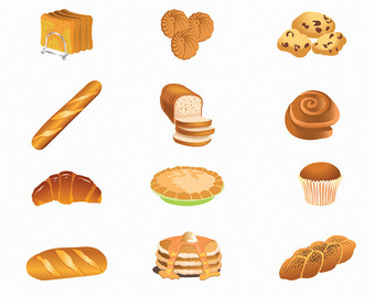 Pastry clipart baked goods Sandwich Bread clipart Cake Etsy