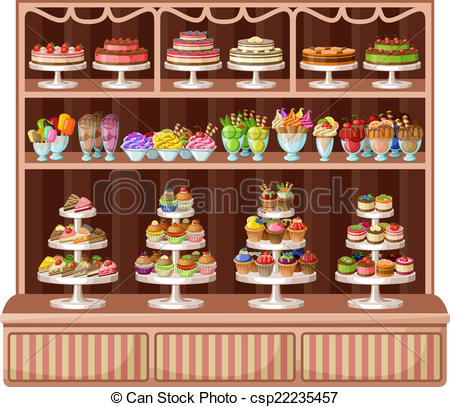 Market clipart bakeshop Illustration of sweets and csp22235457