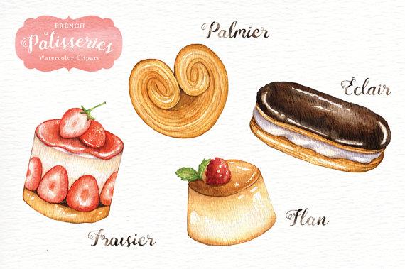 Sweets clipart beignet File Watercolor digital This menu