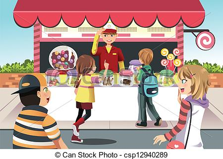 Shop clipart shopkeeper A buying of candy