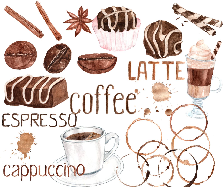 Cappuccino clipart coffee bean Digital CLIPART