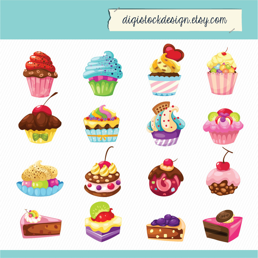 Cake clipart cute Sweet Cake 16 Cupcakes Colorful