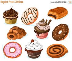 Sweets clipart dessert Set Commercial PNG Use Desserts