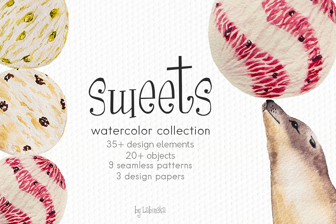 Sweets clipart different object ~  Watercolor Clip on