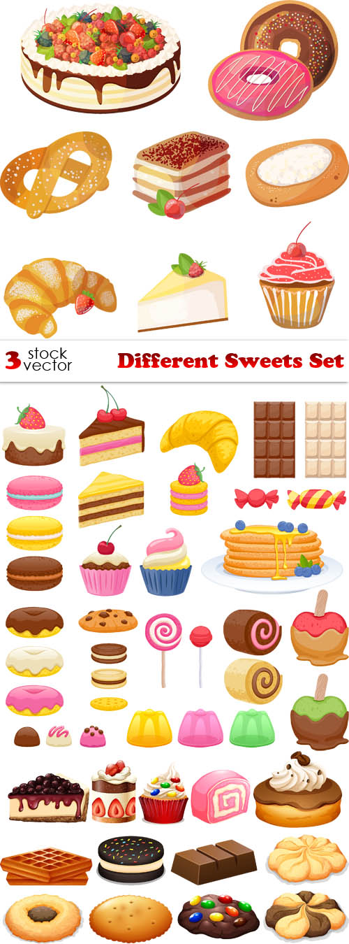 Sweets clipart different object Sweets  Vectors Different Sweets