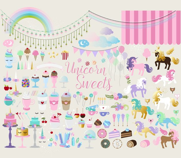 Sweets clipart different object Clipart Unicorn Sweets clipart Objects