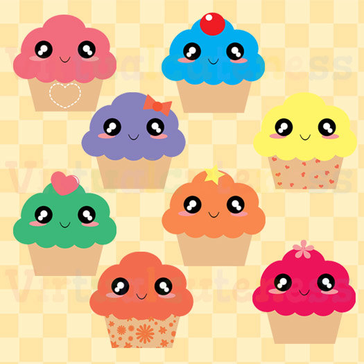 Muffin clipart kawaii  Clip Desserts Cupcake Clipart