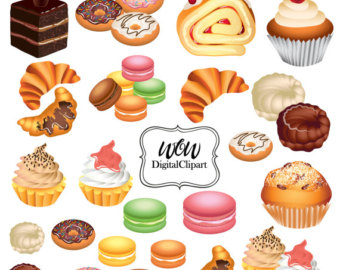 Sweets clipart food item Food Digital Clipart Graphic Cupcakes