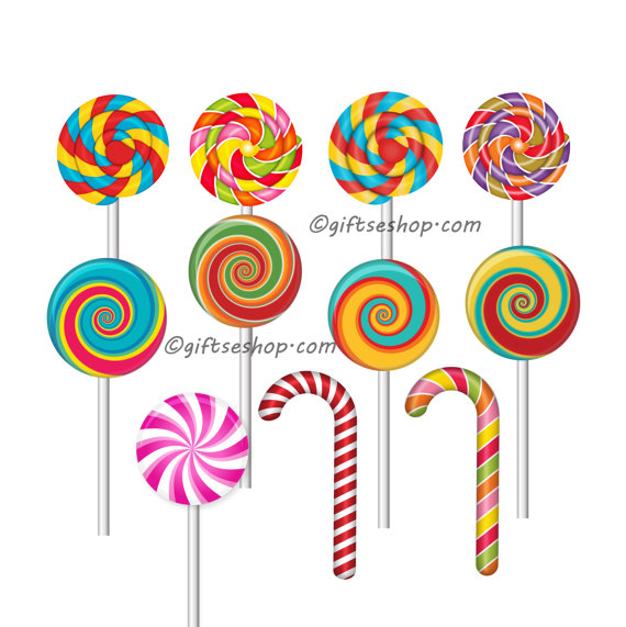 Candy Cane clipart lollipops  Candy Sweets Clipart of
