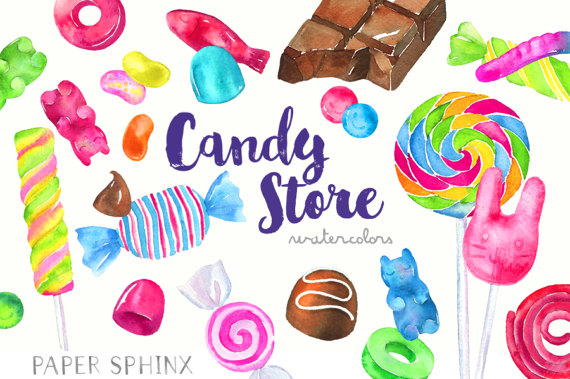 Jelly Bean clipart candy Chocolates Watercolor Candies Art Candy
