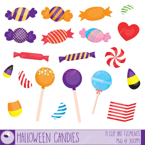 Sweets clipart vector Set 300ppi 6x6 and Halloween