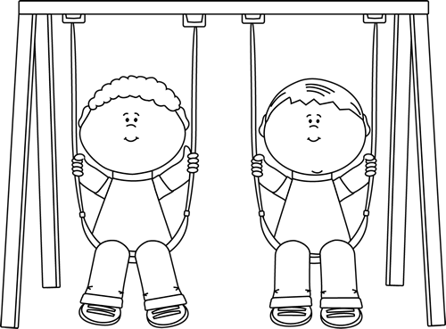 Swing clipart black and white And Kids on Clip White