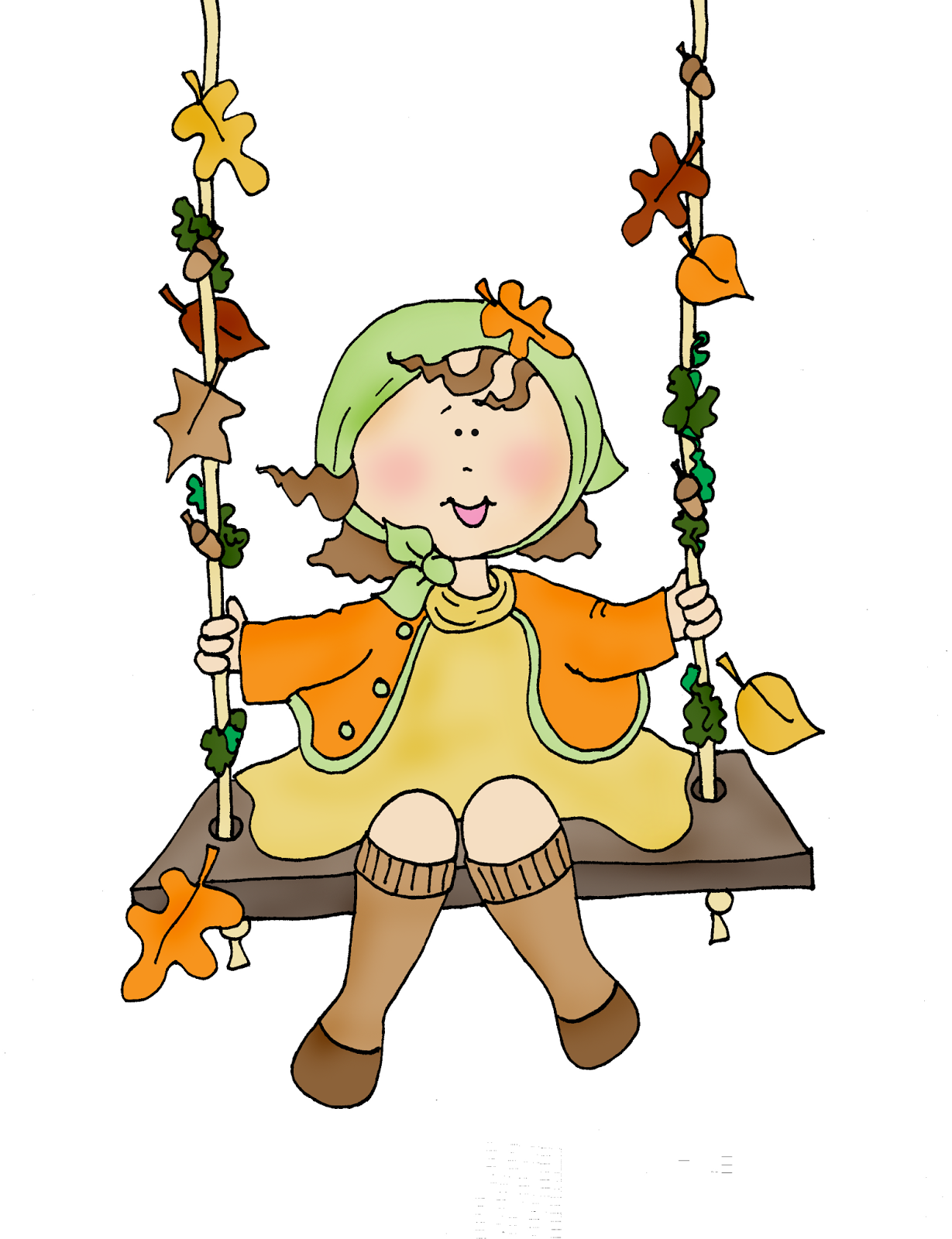 Swing clipart mary Autumn Swing Autumn Dolls Digi