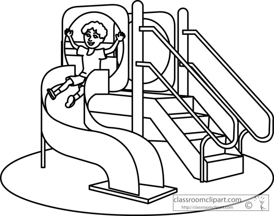 Playground clipart black and white Set clipart 3 slide swing