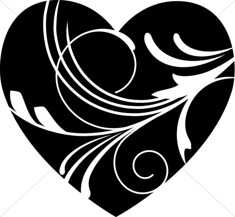 Swirl clipart black and white And white clipart heart white