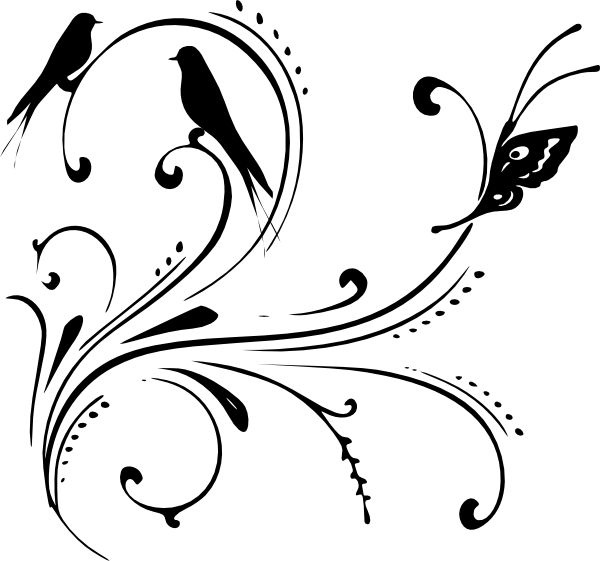 Swirl clipart black and white Public png Black art clip