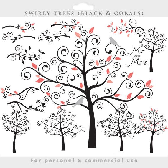 Tree clipart swirly #9