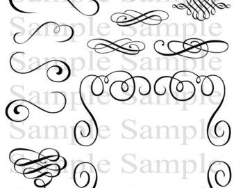 Swirl clipart calligraphy Swirly Clip Art Calligraphy Clipart