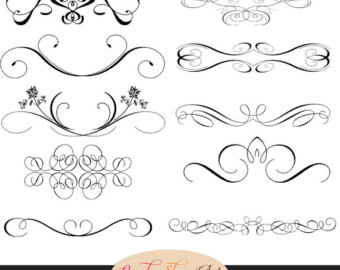 Swirl clipart calligraphy Vintage Wedding Clip Swirls Calligraphy