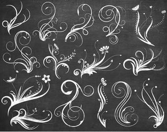Swirl clipart chalk Vector Invitations Chalkboard Etsy swirles