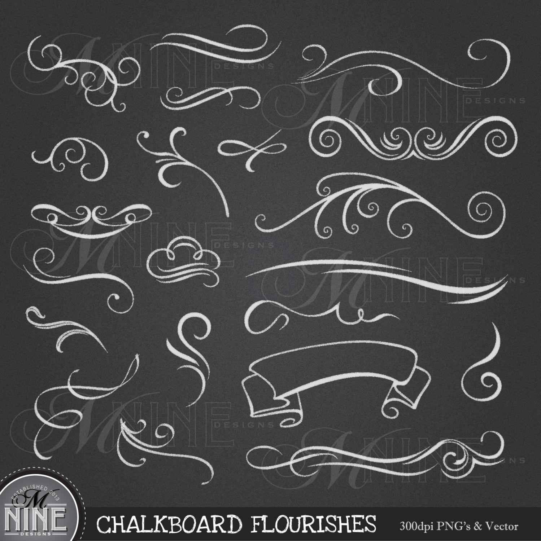Swirl clipart chalk Elements Flourish CHALKBOARD Design Chalk