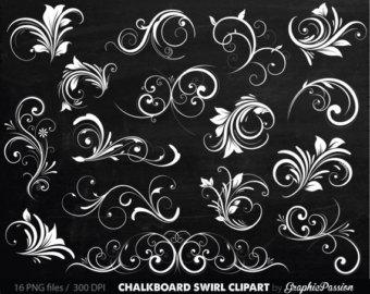 Swirl clipart chalk Flourish Decor Chalkboard Chalkboard Silhouette