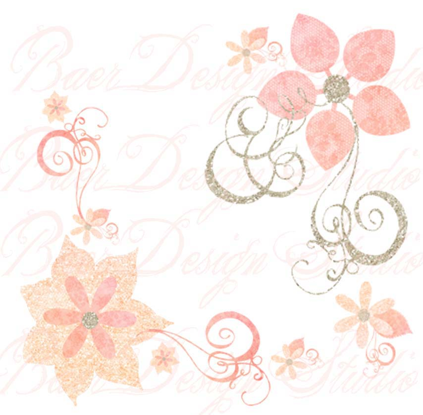 Swirl clipart coral Art and Clip Digital Flowers