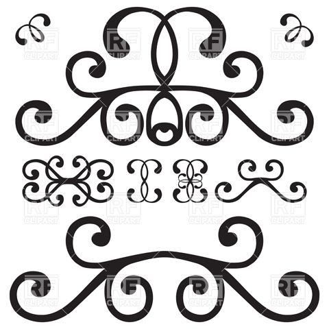 Calligraphy clipart curly cue Designs board Vector curl 19545