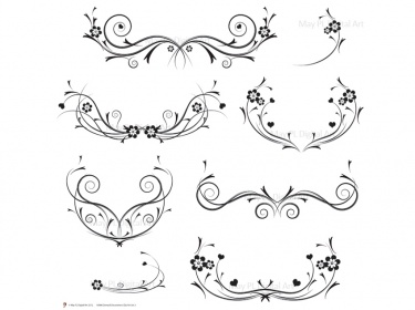 Curl clipart decoration Flourishes Curly Swirls Flourishes Black