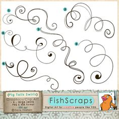 Calligraphy clipart curly cue Design Invitation Stamps Digital ClipArt