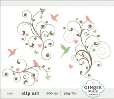 Swirl clipart cute Flourish Design art Tree Bird