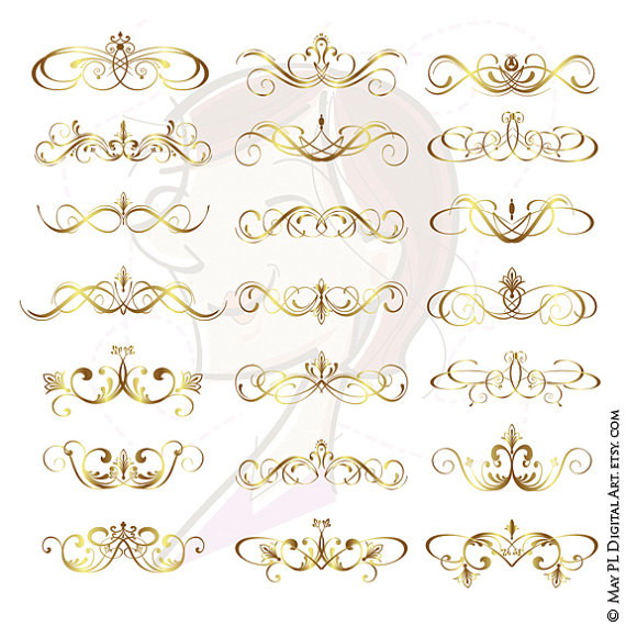 Calligraphy clipart elegant Page Office VECTOR Digital Ornaments