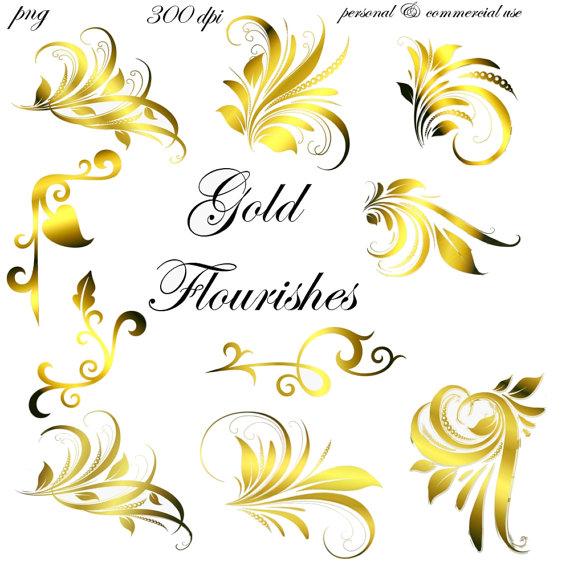 Swirl clipart gold Png Gold Embellishments Embellishments Transparent