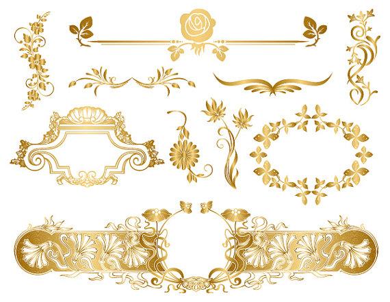 Swirl clipart gold Art 0080 GOLD Digital Invitaiton