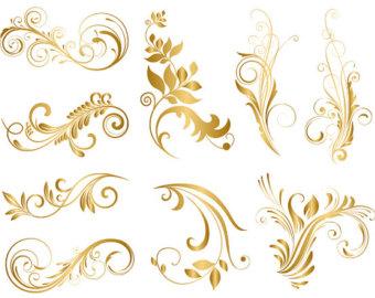 Swirl clipart gold Swirl GOLD Digital Digital Flourish