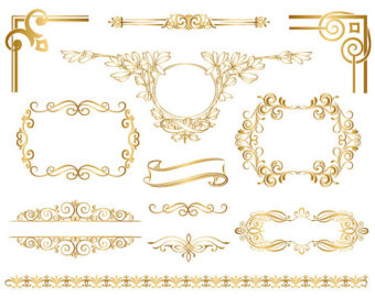 Swirl clipart gold Swirl Wedding Instant Golden Embellishment