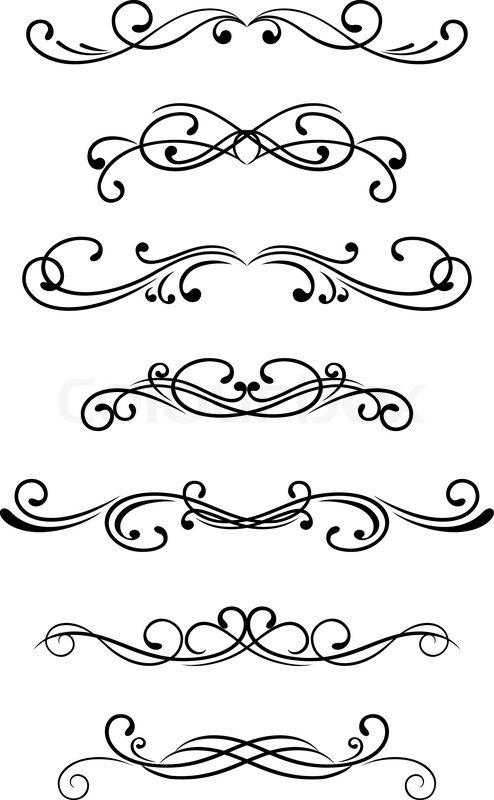 Swirl clipart monogram And elements design vector for