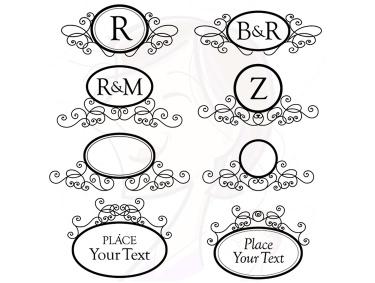 Swirl clipart monogram Wedding Art Engagement Oval Frames